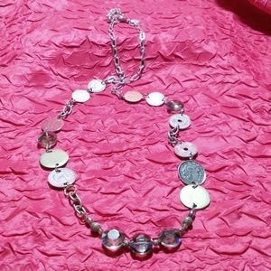 CHICO'S Chunky Silver Coin & Faceted Bead Necklace
